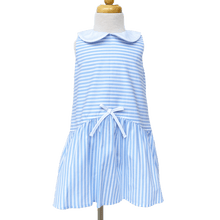Blue and White Striped Peter Pan Dress with Bow