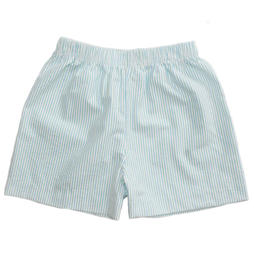 Basic Boy Seersucker Short in Aqua and Green