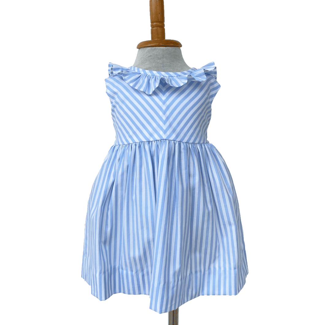 Blue and White Striped Dress with Ruffle Collar