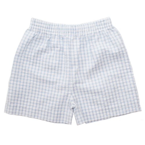 Basic Boy Light Blue Checker Shorts