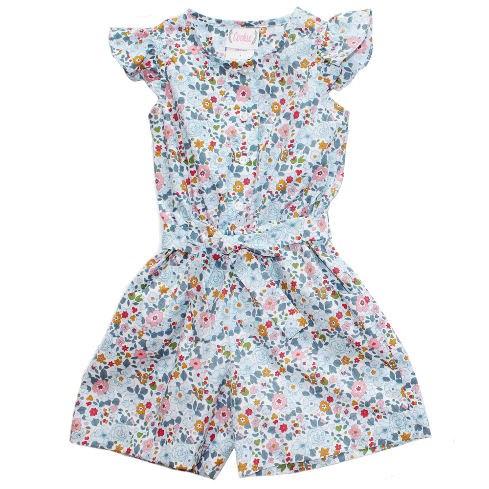 Basic Girl Romper in Large Blue Floral Print