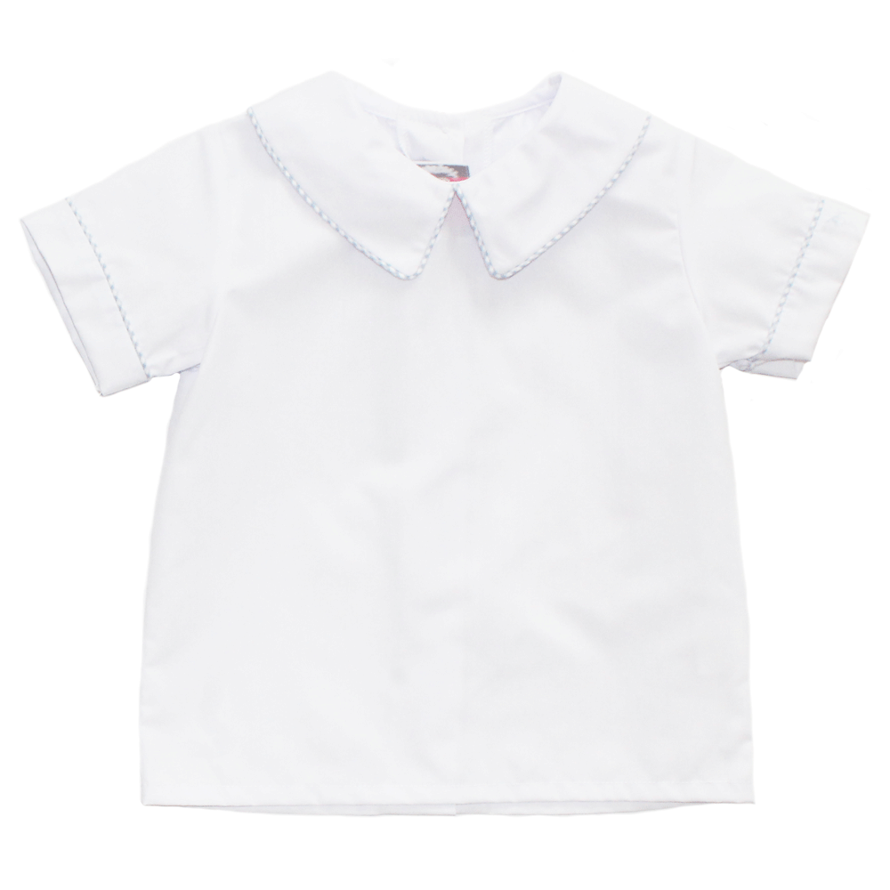 Basic Boy Peter Pan Collared Shirt with Decorative Piping