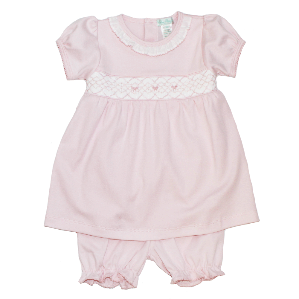 Bows Hand Smocked Diaper Set