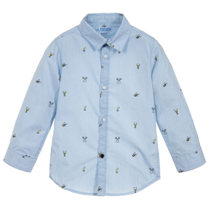 Tennis Print Blue Collared Shirt