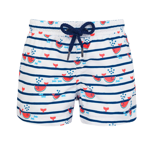 Baby Boys Navy Stripe Watermelon Whale Swim Short