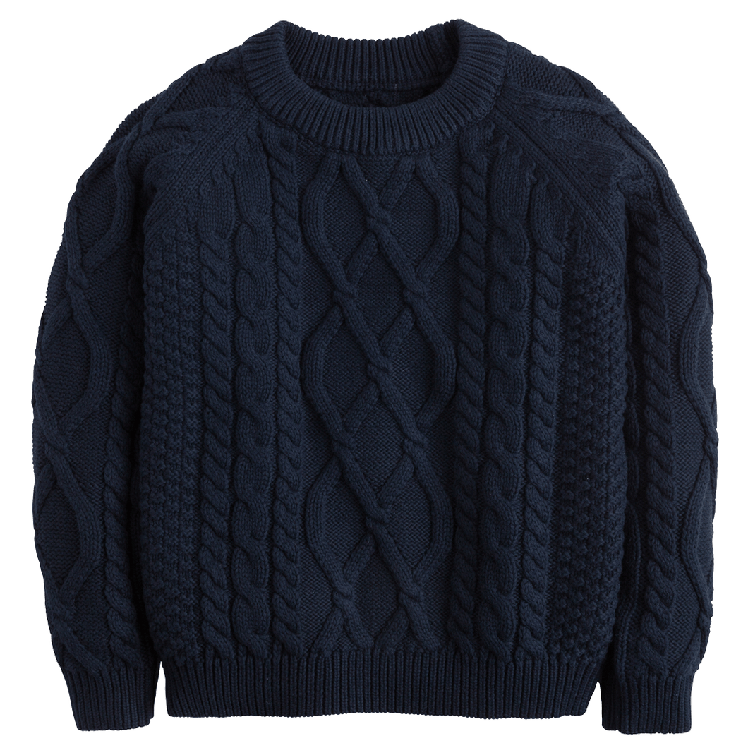Navy Cable knit sweater little english fall classic children and toddler boutique clothing