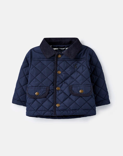 Navy Quilted Boys Jacket With Corduroy Collar