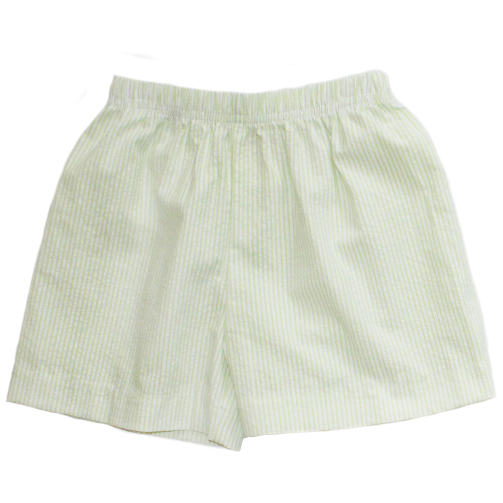 Basic Boy Regular Stripe Green Seersucker Short