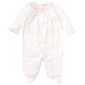 CLB Summer Bishop White Footie with Hand Smocking