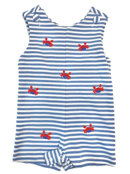 Embroidered Boy Crab Knit Shortall in Thin Stripe Party Blue