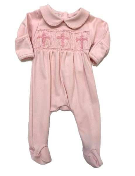Pink Footie with Cross Smocking