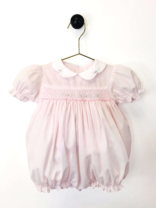 Pink Smocked Bubble with Roses and White Collar