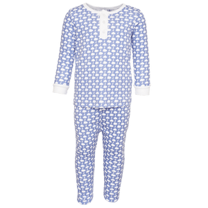 Jack Pajama Set with Henley Top in Lightning Bolt