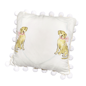 Yellow Dog with Pink Bow Pillow