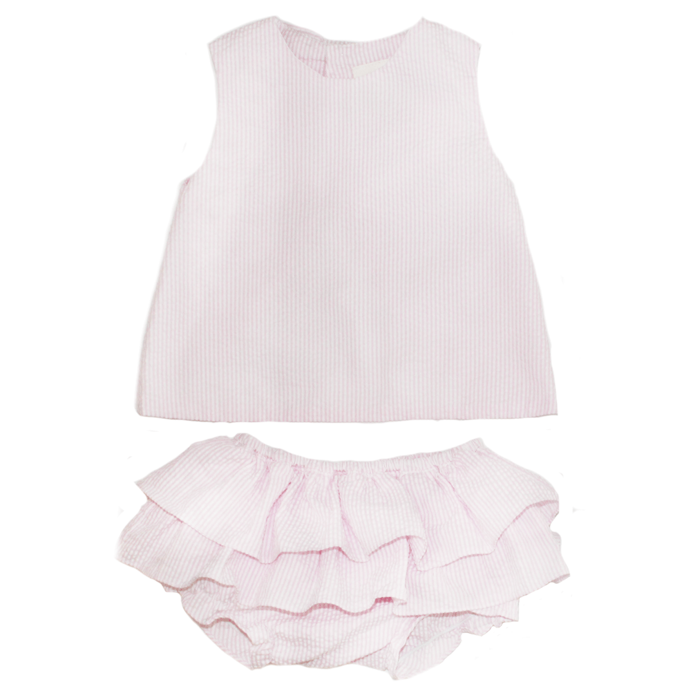 Pink Popover Top and Ruffle Bloomer