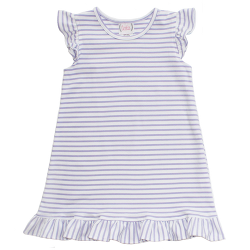 Basic Girl Lavender Stripe Angel Sleeve Dress