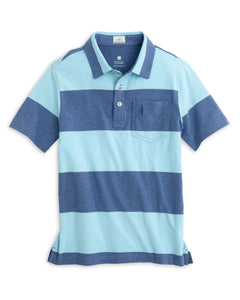 Parker Thick Striped Polo in Oceanside Navy and Teal