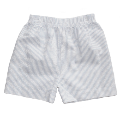 Basic Boy Regular Stripe Light Blue Seersucker Short