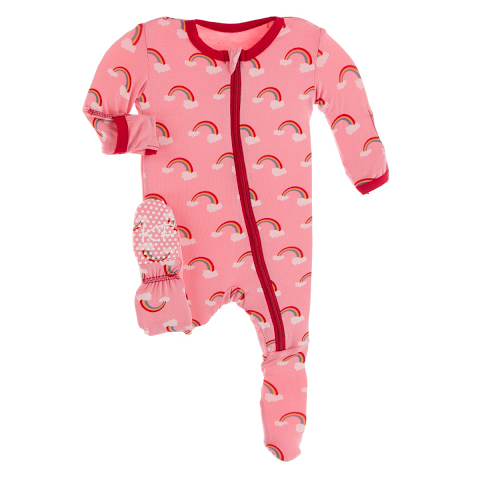 Strawberry Rainbows Print Zip Footie