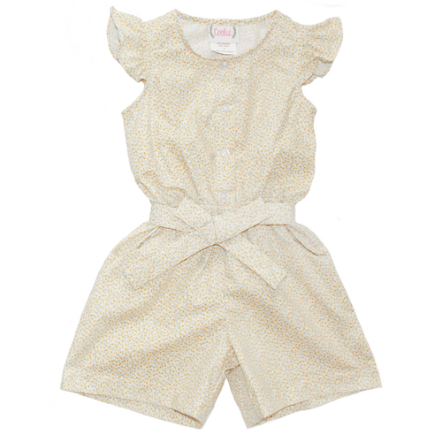 Basic Girl Romper in Dainty Yellow Print