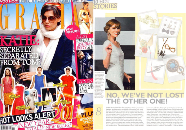 Milla Jovovich in Grazia. Spider Bow Earrings by Violet Darkling