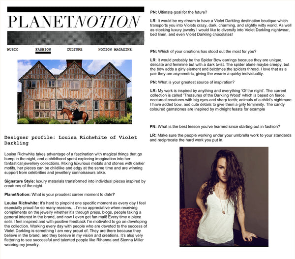 Planet Notion features Violet Darkling's designer Louisa Richwhite
