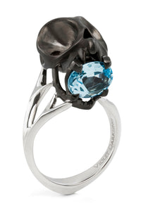 Matte Black Tarsier Ring with Blue Topaz by Violet Darkling
