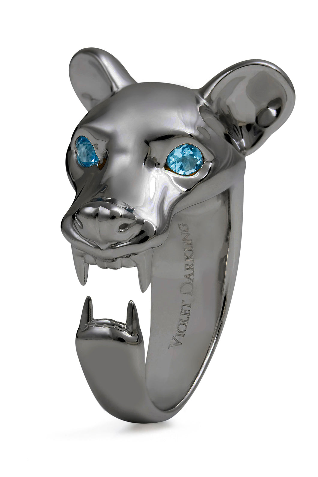 Black Fossa ring with blue topaz eyes by Violet Darkling