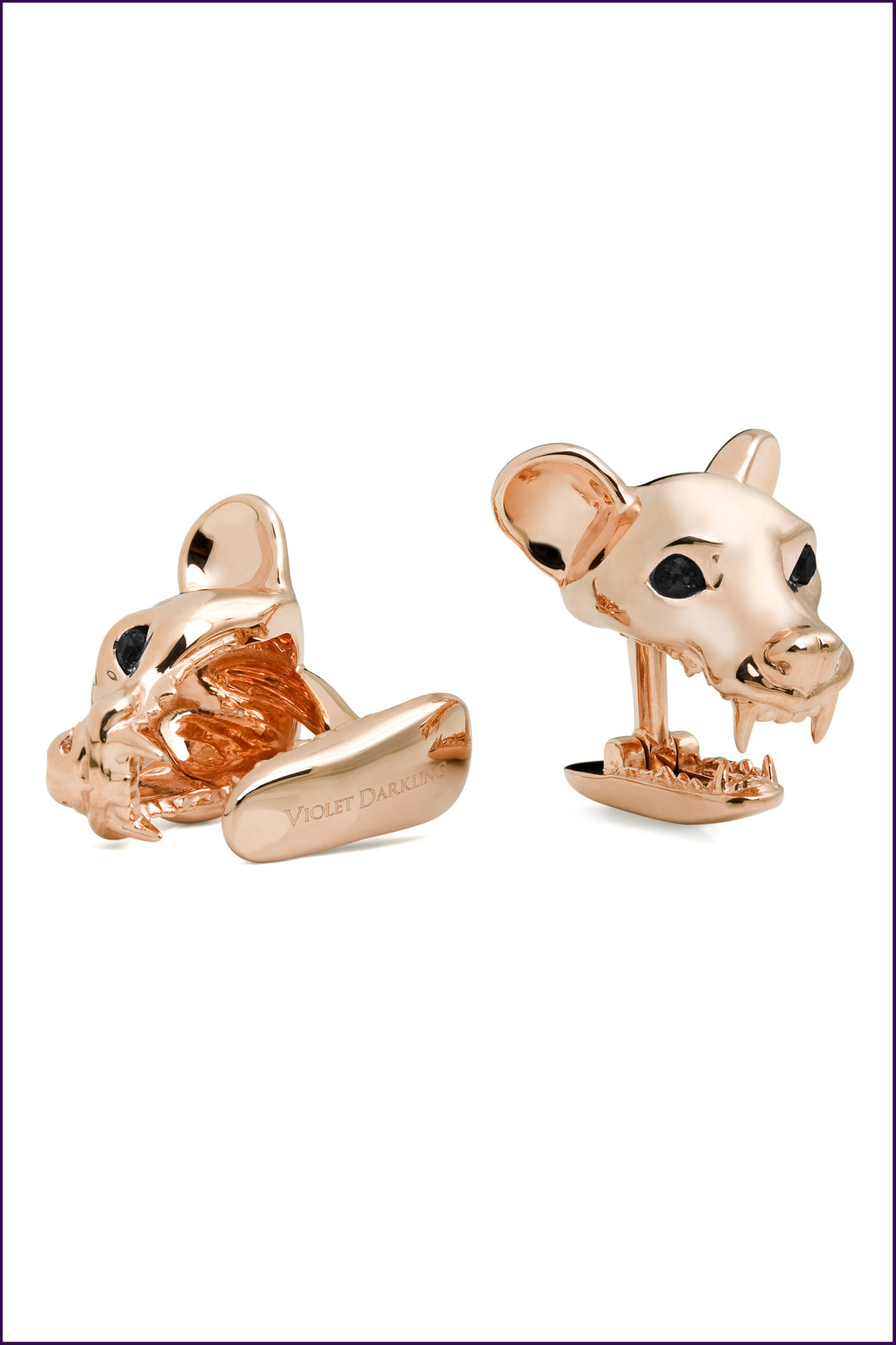 Rose Gold Fossa Cufflinks by Violet Darkling