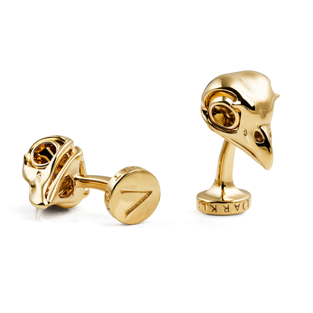 Yellow Gold Owl Skull Cufflinks by Violet Darkling