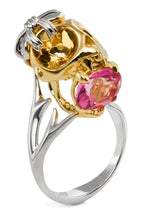 Yellow Gold Tarsier Skull Ring with Pink Tourmaline, by Violet Darkling