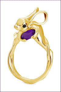 Yellow Gold Jerboa ring. Amethyst. Violet Darkling