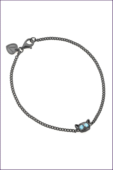 Black & Blue Topaz, Slow Loris Bracelet. Violet Darkling