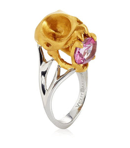 Matte Gold Tarsier Skull Ring with Pink Tourmaline