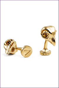 Gold Owl Skull Cufflinks for Women. Violet Darkling