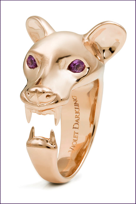 Rose Amethyst Fossa Ring, Violet Darkling