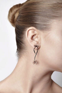 Gold & Black Spider Bow Earrings by Violet Darkling