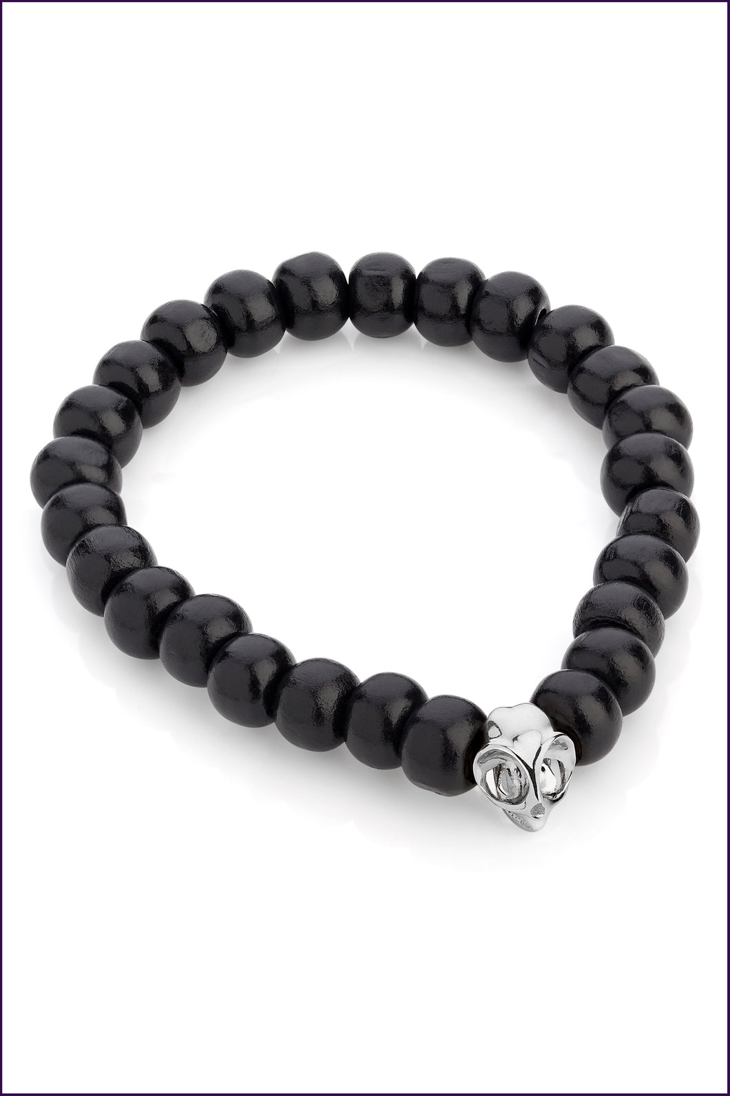 Silver Tarsier Bracelet, Black Beads. Men. Violet Darkling