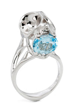 Silver Tarsier Skull Ring with Blue Topaz by Violet Darkling