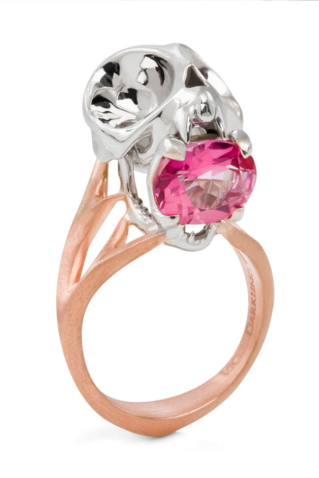 Silver Tarsier Ring with Pink Tourmaline by Violet Darkling