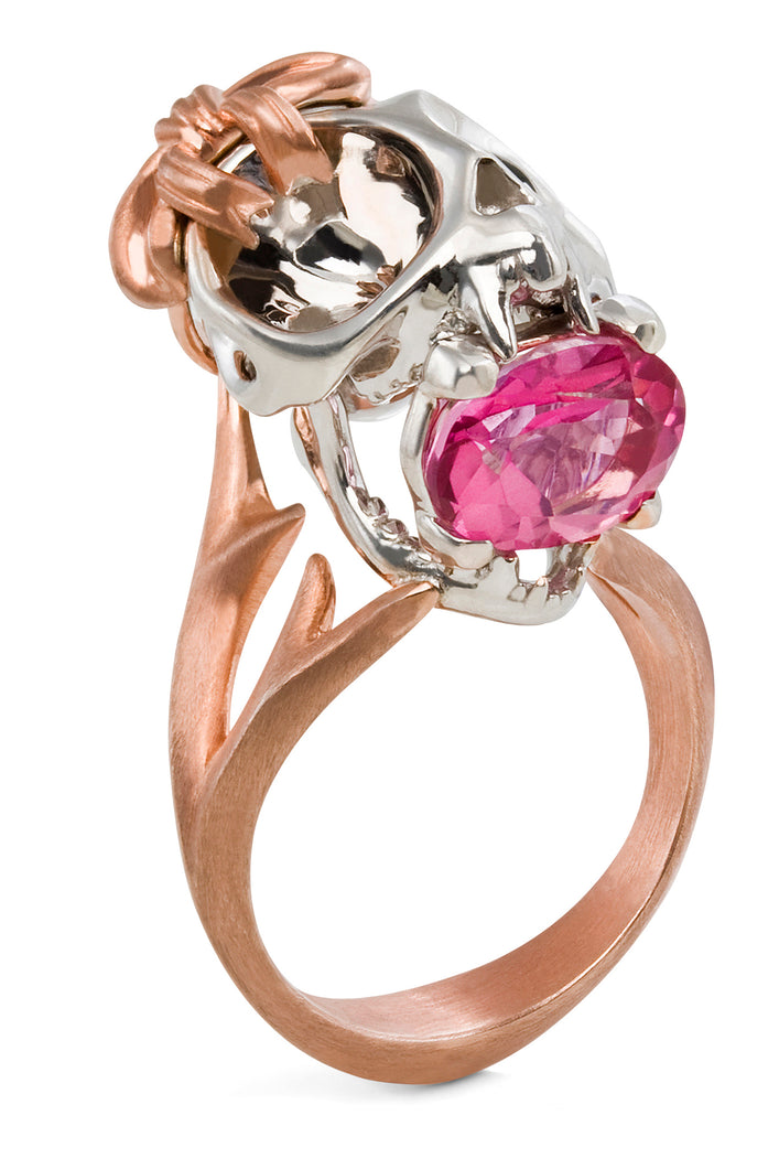 Silver, Rose Gold, Pink Tourmaline Tarsier Ring by Violet Darkling