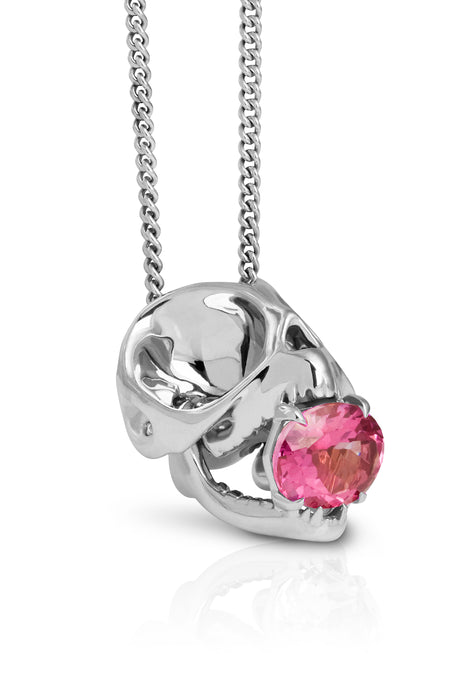 Silver & Pink Tourmaline Tarsier Necklace by Violet Darkling