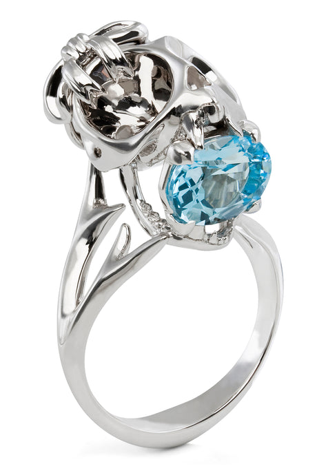 Silver Tarsier Ring, Bow & Blue Topaz by Violet Darkling