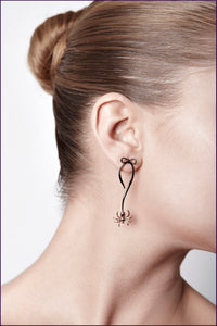 Black Spider Bow Earrings