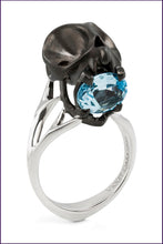 Matte Black Tarsier Ring. Blue Topaz. Violet Darkling