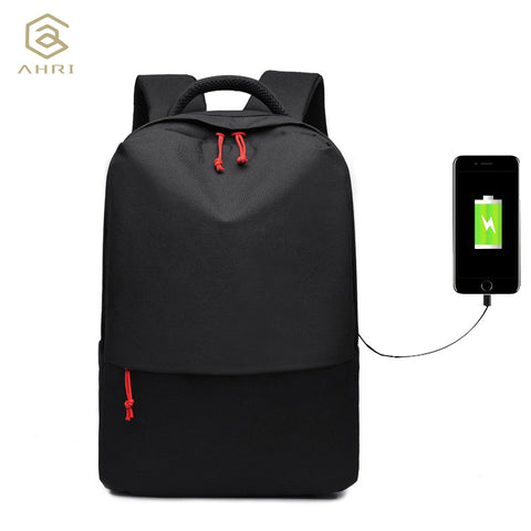 "External USB charge port for 14"" laptop backpack school bag"
