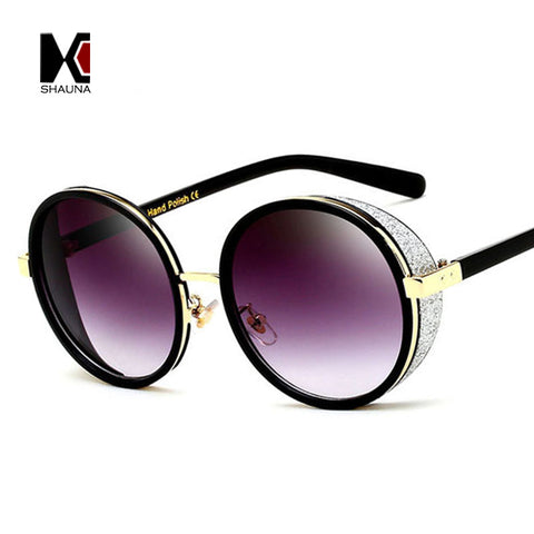 Vintage Oversize Women Round Steampunk Sunglasses Fashion Pearled Decoration