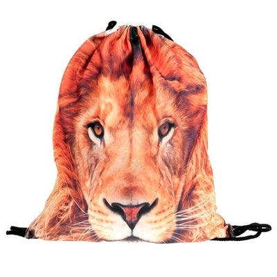 3D Animal Print Drawstring Backpack