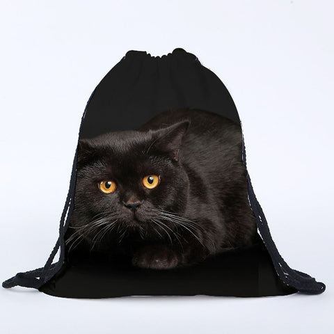 Black Cat Print Drawstring Bag