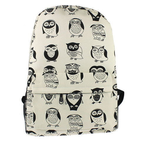 Owl Print Canvas Backpack